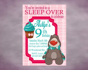 Sleep Over Birthday Party Invitation Personalized Slumber Party Printable Invitation