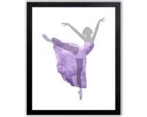 Girls Room decor - Dancer Art - Purple And Gray - FIG012