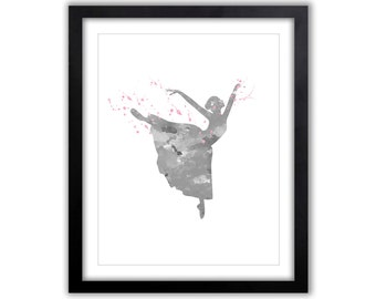 Dance Watercolor Art Print - Gift For Her - Ballet Wall Decor - Ballerina - Wall Art For The Home - Gift For Dancer - Dance Gift - FIG011