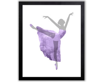 Girls Room decor - Dancer Art - Purple And Gray - FIG012