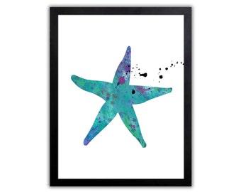 Nautical Decor - Starfish - Watercolor Nautical Art Print - NA021