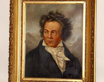 Impressionist Oil On Canvas Portrait Ludwig Van Beethoven 19th Century Victorian 19c