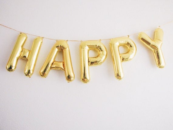 happy letter balloons gold foil mylar letter by ohshinypaperco With mylar letters