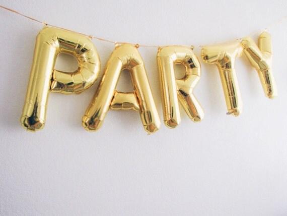 PARTY letter balloons gold foil mylar letter balloons - balloon banner ...