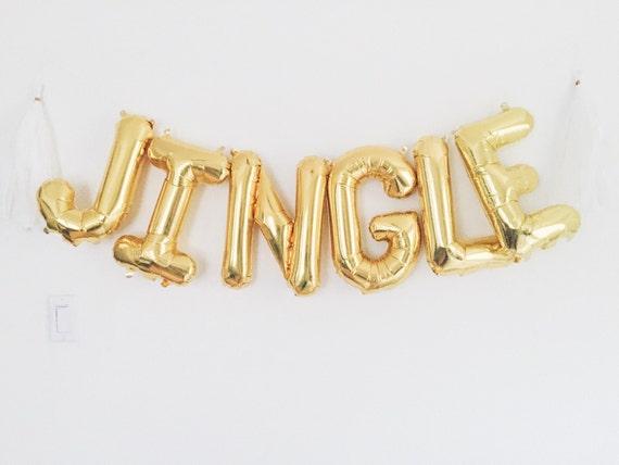jingle balloon gold mylar foil letter balloon banner kit With gold letter banner kit