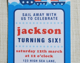 """Boat Birthday Invitation to suit any age. Digital File, 6x4"""" personalised"""