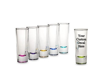 Set of Two (2) Customized Shot Glasses with Colored Bottom