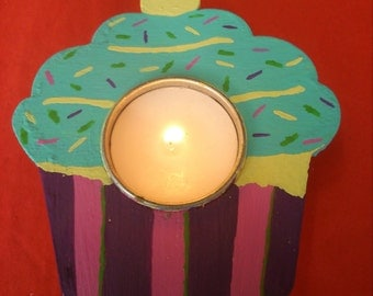 REDUCED tea light holders. cup cake design. wood. available to buy today 13cm x 11cm