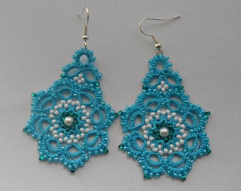 Blue  earrings, tatted earrings, tatting jewellery, turquoise summer earrings