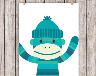 Nursery Art Printable Sock Monkey Blue Art Print Wall Art, 8 x 10 Instant Download Digital File