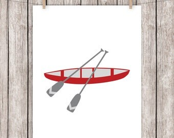 Canoe Printable Art Camping Art Print Red Gray Wall Art Home Decor 8 x 10 Instant Download Digital File