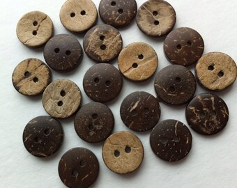 """40 Coconut Button 15mm Coconut Shell Buttons 5/8 inch Sewing Button 5/8"""" Natural Wood Buttons Small Embellishments Notions Craft Supplies"""
