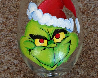 Grinch Hand Painted Glass
