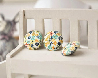 6pcs 2cm cute floral fabric button floral covered buttons kids clothes buttons earring and bracele supply