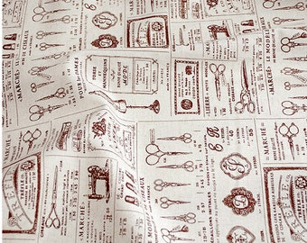 Retro sewing tools pattern cotton linen fabric home decor fabric tablecloth fabric curtain fabric handmade fabric 1/2 yard
