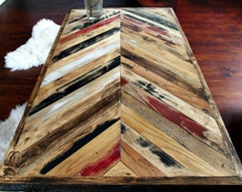 Hand Crafted Reclaimed Wood Coffee Table - Handmade Multicoloured Coffee Table