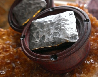 Blood wood plugs ,pounded steel inlay!