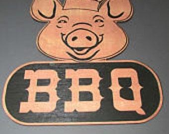 BBQ rustic pig sign