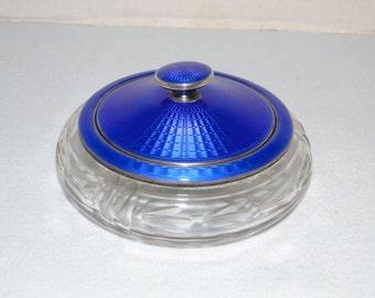 Art Deco Guilloche Enamel over Engine Turned Sterling Silver and Cut Glass Vanity Powder Jar Birmingham England 1929