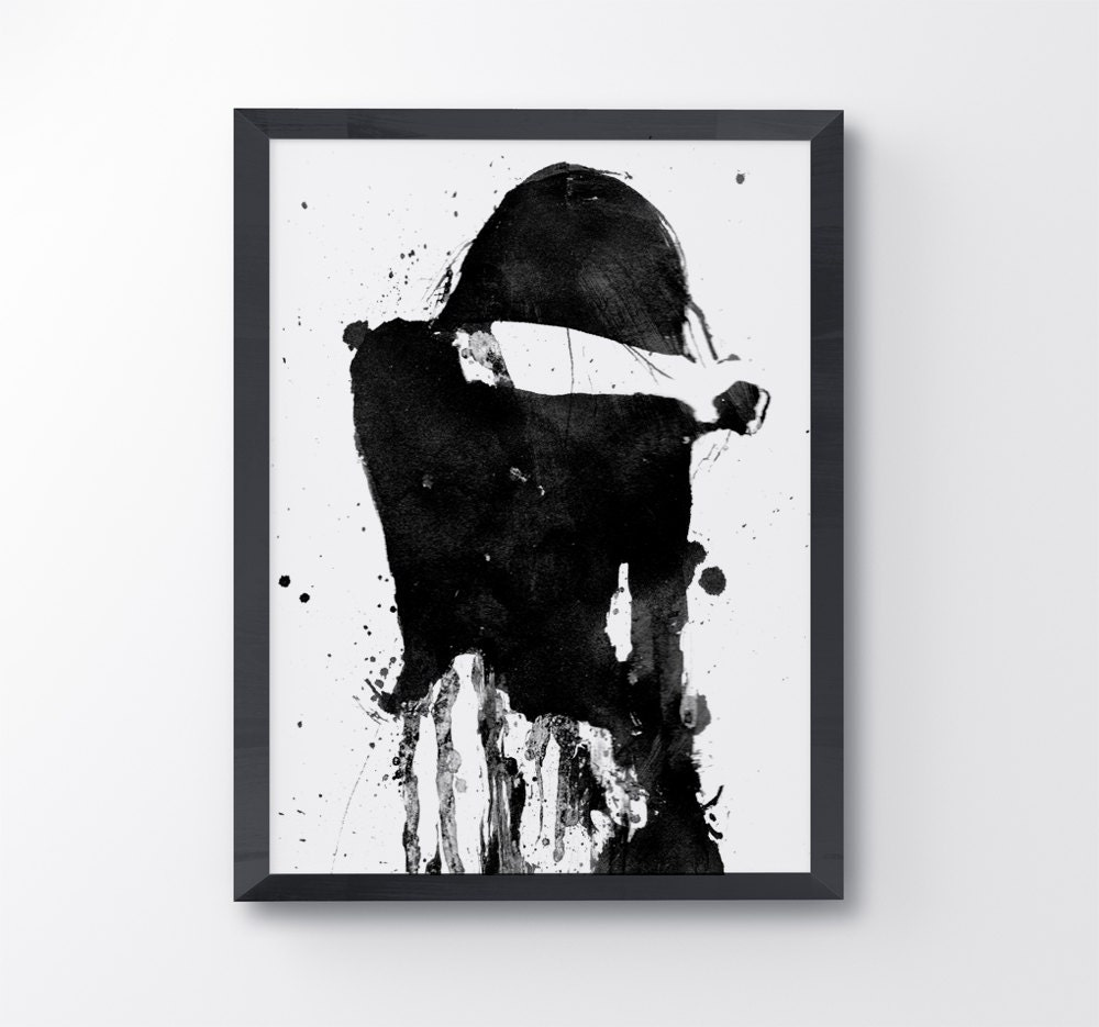Sad Girl Black And White Painting Cry Girl Black And White Art