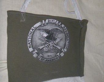 Tote Bag Green Eco Friendy Reuseable Cotton Shopping Book Recycle Eagle Rifle Tee Shirt Upcycled