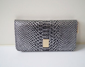 "ladies wallet, womens wallet ""Lea"" in silver, genuine leather, wallet, purse, portefeuille, handmade, clip purse, new"