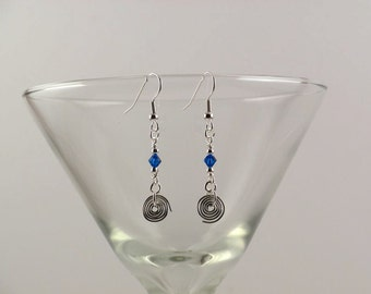 Blue Swarovski crystal earrings with hand-made coils