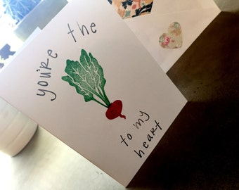 You Are The Beet To My Heart, Love Card, I Love You, Blank Greeting Card, Beet Pun, Beet Card, All Occasion Card, Stationary, Blank Card