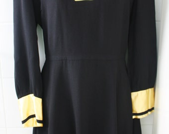 SALE Vintage seventies sailor collar black and yellow crepe/satin party dress