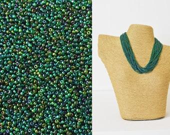 Persian green seed beads 11/0, Preciosa Ornela,dark green seed beads,DIY,tiny beads,small beads,jewelry supplies,2mm beads,glass bead