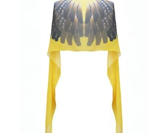 Acid Yellow Feather Print Silk Scarf