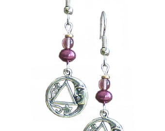 Style #1103 Alcoholics Anonymous Sterling Silver Star and Moon AA Earrings