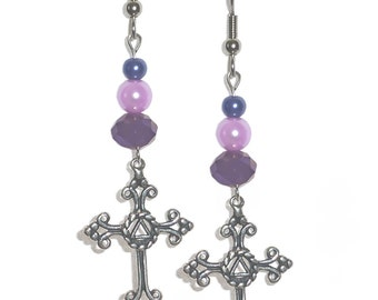 Style #1127 Alcoholics Anonymous Symbol on a Medium Size Lovely Cross Earrings