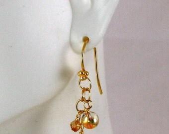 Metallic Sunshine Swarovski Crystal Dangle Earrings