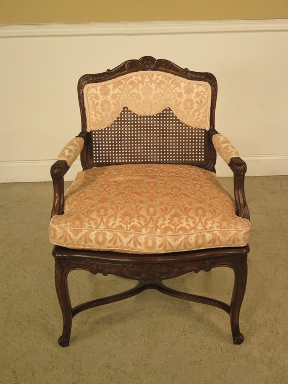 22904e French Louis Xiv Upholstered Amp Cane Back Arm Chair