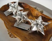 Silver Christmas Star Paper Decoration Ornament With Metallic Finished - Modern Trendy Christmas Decor Xmas Ornaments Christmas Decorations