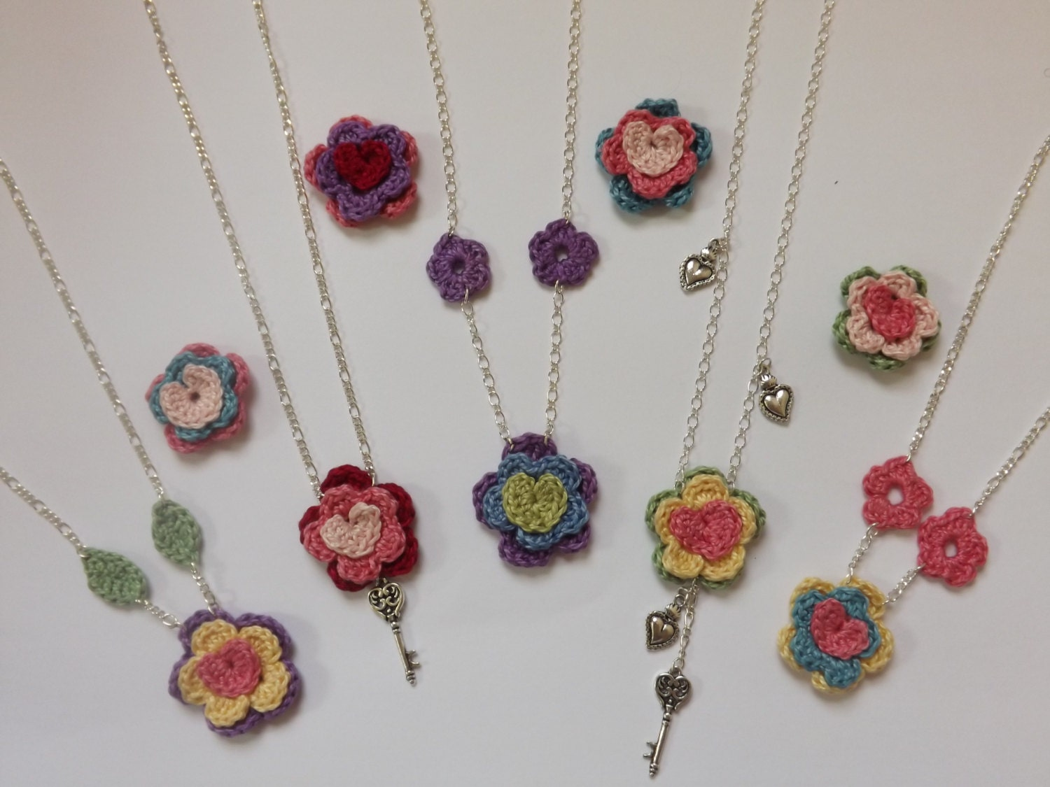 Crocheted Flower Necklace Pattern by LostTreeDesigns on Etsy