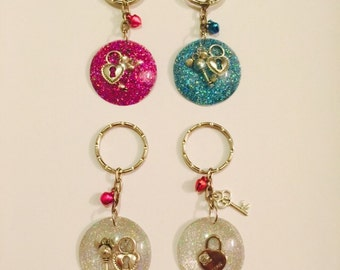 Lock and Key Keychain with Matching Bell