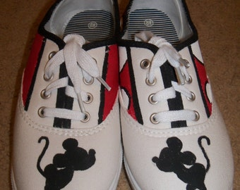 Mickey and Minnie Mouse Painted Shoes