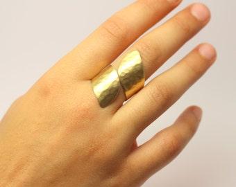 Hammered Long Cuff Ring Minimalist Gold - Silver Handmade Elegand Design