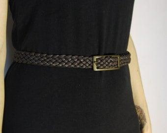 Vintage Leather Belt Skinny High Waist Braided 1970s
