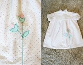 Vintage - Toddler White Polka Dot Flower Appliqué Dress (Size 4T)