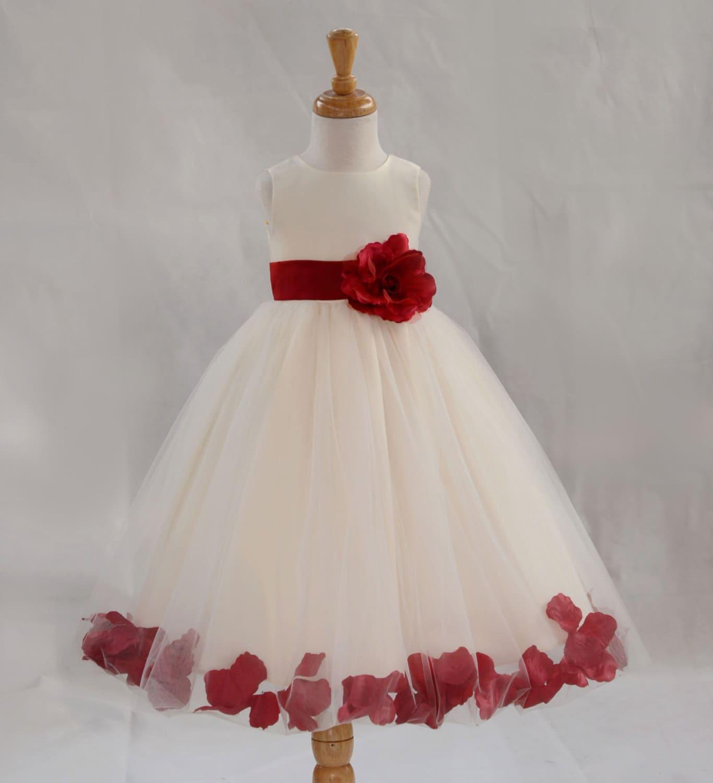 Apple Red Flower Girl Dresses