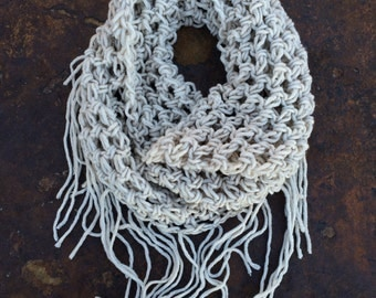 Handmade Crochet Infinity Fringe Scarf (Cream)