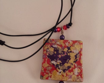 Pressed Paper Pendant Necklace