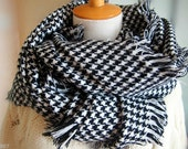 FLASH SALE! - Fast Shipping! Beautiful Black and White Oversized Houndstooth Wrap Scarf
