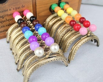 17 colors small beads Vintage purse frame bag frame antique bronze with colourful bead heads 8.5cm
