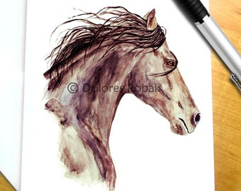 Horse Stationery, Watercolor Horse Note Cards, Bay Horse Cards, Gift Woman Retirement Gift for horse lover, Equestrian Thank you Gift Horses