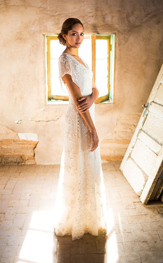 Simple wedding dress backyard wedding dress by for Can i make my own wedding dress