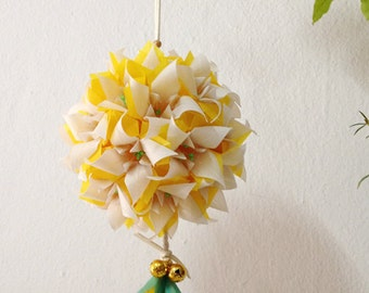 Yellow Origami Flower Ball. Translucent Origami Flower. Origami Christmas Ornament. Home Decoration.